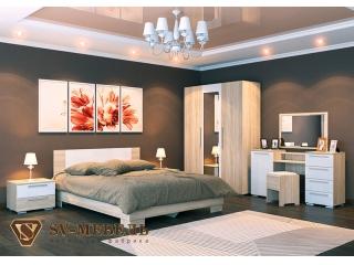 Набор мебели для спальни Лагуна - 2 СВ(сонома/белый) с туалетным столом и пуфом